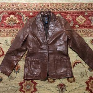 Gap brown basic leather jacket